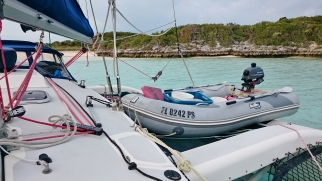 Stowing the dinghy for the night