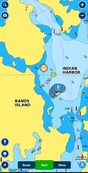 Our swing at anchor (blue pins) in Indian Harbour